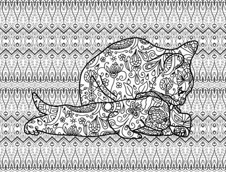 Mother cat with a kitten on the national patterns. Tribal ethnic patterns. Vector illustration. Coloring book page for adults. Line art design