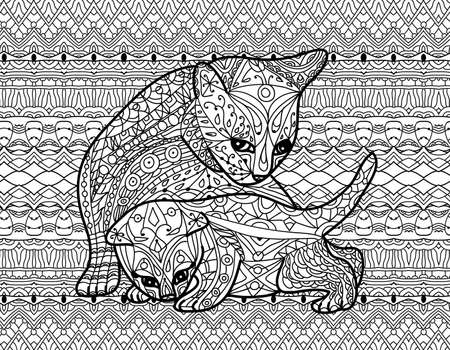 Monochrome drawing with national patterns. Mother cat with kitten. Zendoodle coloring book for adults. Line art design