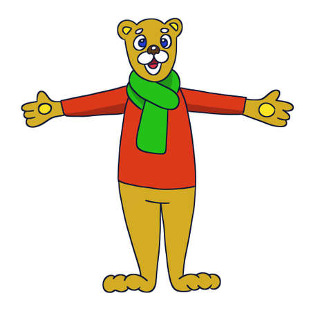 Smiling bear opened his arms for a hug. Cartoon illustration isolated image