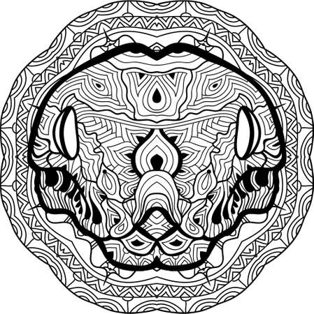 play poison: Dangerous boa is drawn by hand with ink, with ethnic patterns. Zendoodle, zenart. Circular mandala tribal patterns. Coloring book for adults. Coloring antistress anaconda. Element for your design.