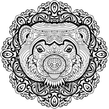 wolverine: Painted the Wolverine on the background tribal mandala patterns. Element for your design. Cards, bags, coloring books for adults, t-shirts, tattoo. Line art design. Zendoodle. Coloring page for adults