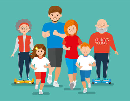 jogger: Flat illustration. Happy sports family jogger. Sport big family Illustration