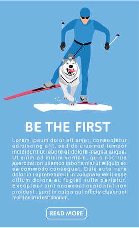Running with a dog-husky on skis. Flat cartoon illustration. Sport banner. Skijoring