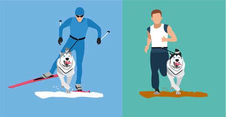 Invierno esquí de fondo con un perro y un concurso de verano que se ejecuta con el perro-ronca. ilustración de dibujos animados plana. bandera deporte. Perro que pega la lengua se extiende por delante del hombre. Skijoring, canicross