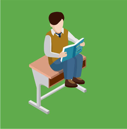 Student studying algebra textbook sitting on the Desk. Isometric scholl flat illustration.