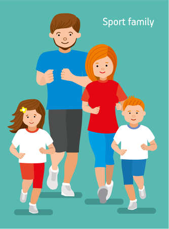 Happy sports family jogger. Sport big family. Mom, dad, daughter, son. Flat illustration.