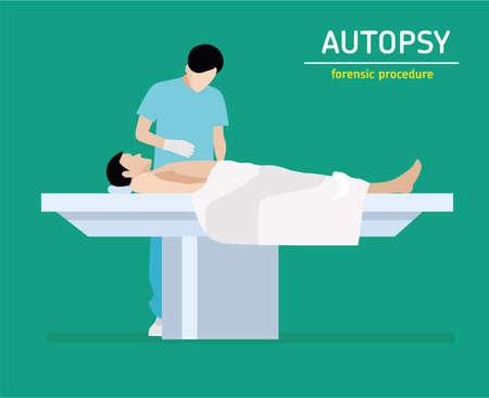 murder: Autopsy. Forensic procedure. The coroner examines a murder victim