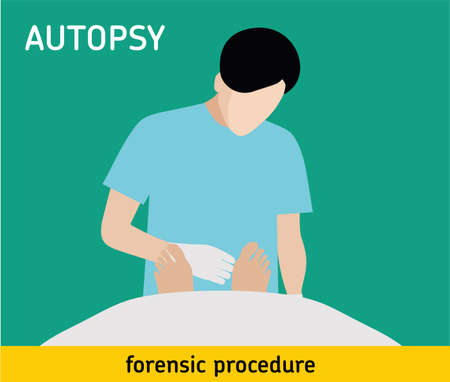 criminology: Autopsy. Forensic procedure. The pathologist conducts the autopsy of the murder victim Illustration