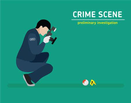 housebreaking: Murder investigation. Police photographed the evidence. Flat illustration.