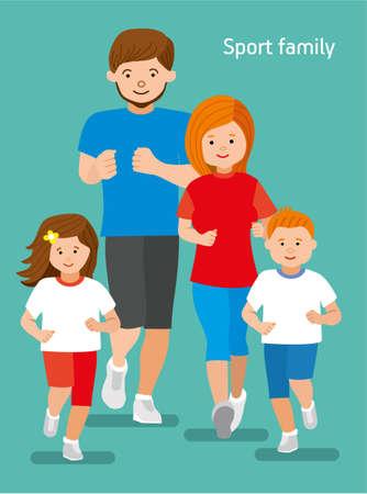 jogger: Happy sports family jogger. Sport big family. Mom, dad, daughter, son Flat illustration