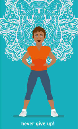 lioness: Sport banner. Fitness woman. athletic and confident young woman mulatto, in the background the figure of a lioness. Isolated Flat illustration