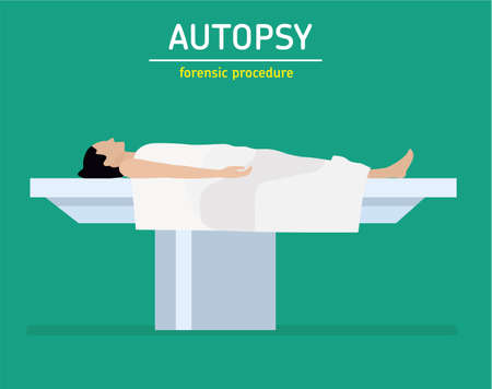 murder: The woman is a murder victim lies on a table at the coroners. The autopsy of the murder victim. The autopsy of the murder victim.