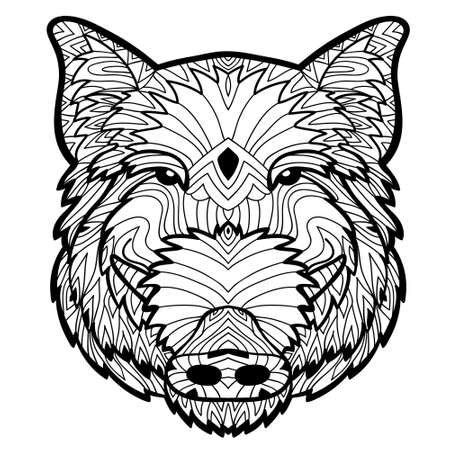 animal head: Monochrome drawing with national patterns. Painted the boar on the background tribal mandala patterns. Element for your design. Cards, bags, coloring books for adults, t-shirts, tattoo