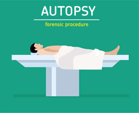 The man is a murder victim lies on a table at the coroners. The autopsy of the murder victim. The autopsy of the murder victim.