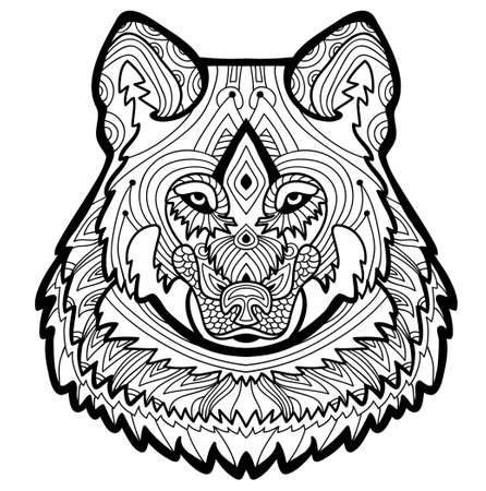 nature silhouette: Strong wolf is drawn by hand with ink. Coloring page for adults. Coloring antistress. Element for your design. For tattoo and other design.