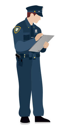 Poliziotto su uno sfondo bianco. Piatto. Il funzionario di polizia riempie le informazioni sul tablet Archivio Fotografico - 68326018