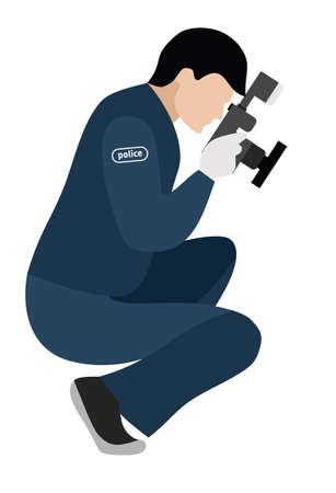 Forensic scientist photographs evidence. Flat illustration. Murder investigation Illustration