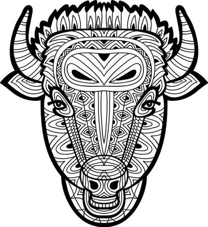 bull pen: Monochrome drawing of a bull with tribal patterns on white background. Line art coloring book. Tattoo. Antistress. Card.