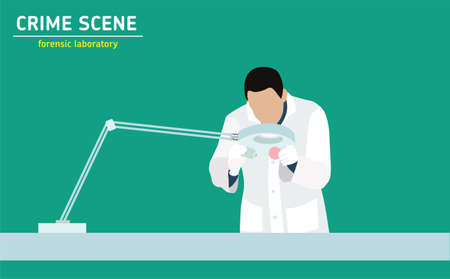 murder: Forensic laboratory. The assistant forensic scientist examines evidence. Forensic procedure. Murder investigation.