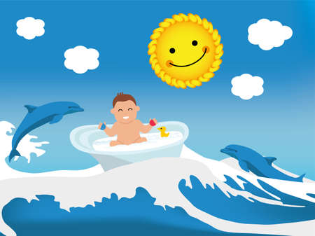 gently: Flat illustration. Happy toddler playing in bath, wave bath lift, dolphins and the sun gently smile at him. Baby illustration. Kid banner.