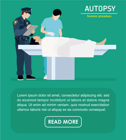 dissection: The autopsy of the murder victim. Forensic procedure banner. Police and the coroner are investigating a murder victim. Flat illustration.