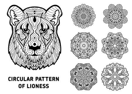 Line art. Element for your design. The head of a lioness and patterns of rotational circular drawn from the head of the lioness. Monochrome patterns with ink. Coloring page for adults.