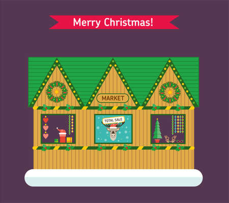 Christmas and New Year winter background. Christmas fair, New Year holidays and vacation flat backdrops. Christmas card. Illustration