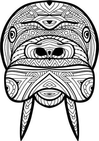 Walrus  is drawn by hand with ink. Hand-drawn figure of a Walrus  on the white background. Line art design. Coloring book for adults. Zendoodle. Tribal patterns.