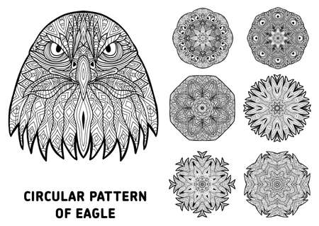 Line art. Element for your design. The head of a severe eagle and patterns of rotational circular drawn from the head of the eagle. Monochrome patterns with ink. Coloring page for adults.