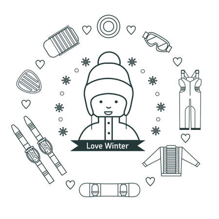 Winter kids activities line icon set. Girl with winter vacation items concept. Sun, ski, sweater, sleds, snowboard, jumpsuit, safety glasses and winter scooter web icon set. Illustration