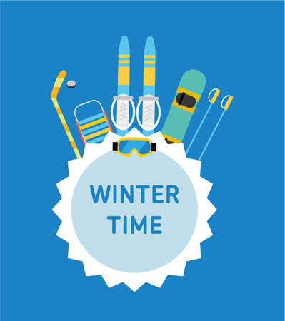Winter time. Concept banner template. Hockey stick, sled, ski, snowboard - kids winter gear. Flat style illustration