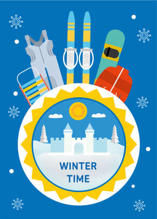 overalls: Winter time. Concept banner template. Sled, overalls, ski, snowboard, jacket - childrens winter outfit. Flat style illustration