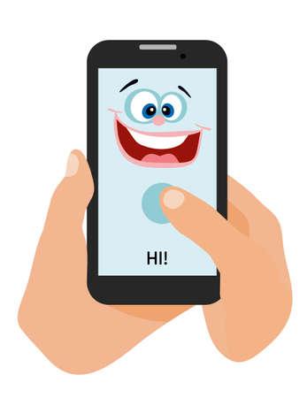 neighbourly: The phone happy smiles. Flat Cartoon style illustration. Illustration
