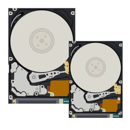 The hard disk of the computer and notebook on white background.