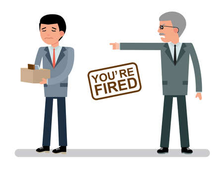 you are fired: The chief dismisses the employee. Illustration