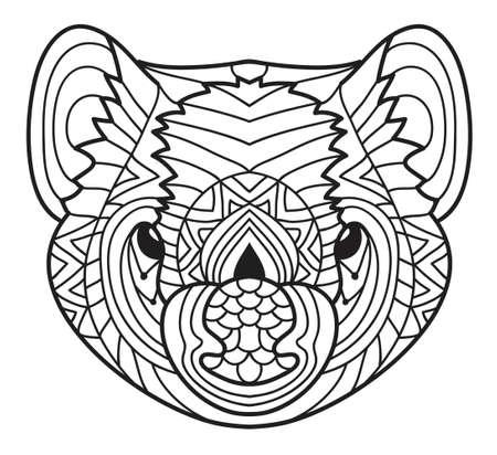 tasmanian: Animals of Australia. Tasmanian devil. Coloring book Illustration