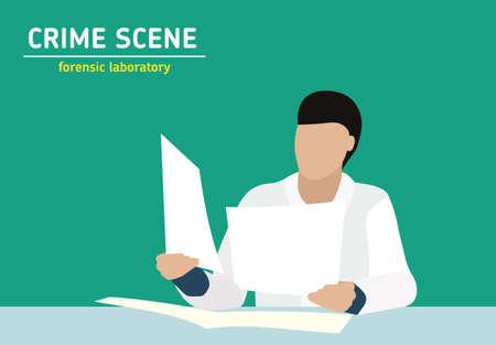 evidence: Investigation. Laboratory studies evidence. Forensic procedure. Illustration