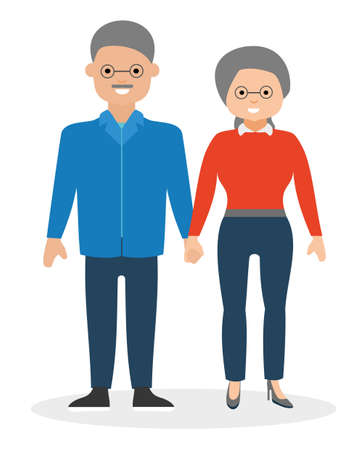 couple holding hands: Happy elderly couple holding hands and smiling. Illustration