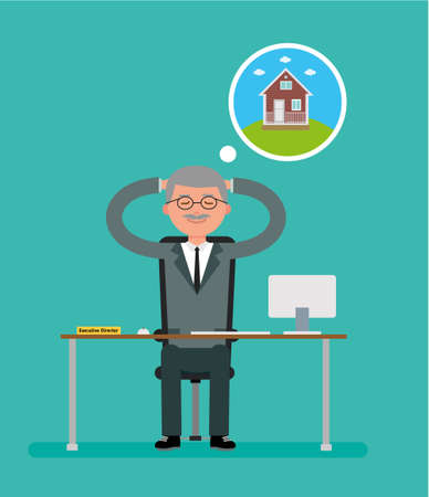 general: General Director sits at a Desk and dreams about the house. Cartoon vector flat-style illustration. Illustration