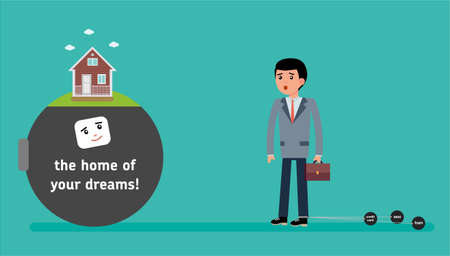 A young employee with the smallest debt offer the mortgage on the house. The home of your dreams Cartoon vector flat-style illustration.