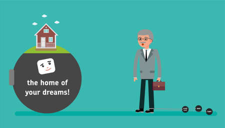 The boss with the smallest debt wants a home loan. Your dream house. Cartoon vector flat-style illustration.