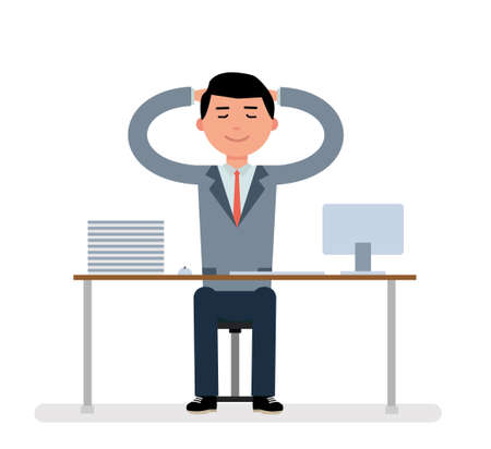 vacation with laptop: Manager sits at a Desk and dreaming. Illustration