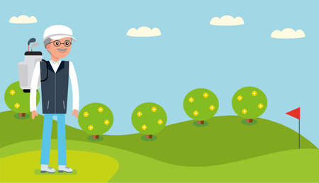 driving range: An elderly man came to the Golf course to play. Stock Photo