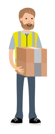 A warehouse worker with boxes for storage on a white background