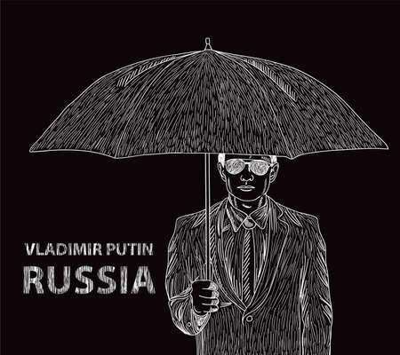 Il presidente della Russia Vladimir Putin con un ombrello