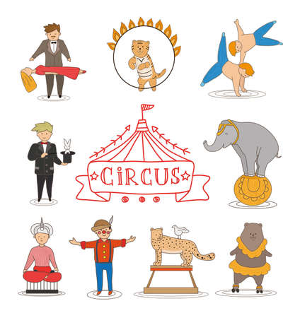 Circus line art design collection with carnival fun fair