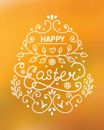 Happy Easter lettering on yellow blur background.