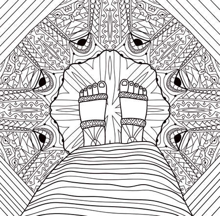 Feet girl in a dress and sandals is standing on a patterned floor. Coloring page for adults. Vettoriali