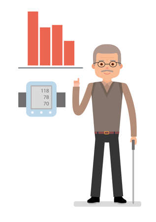 An elderly man points to chart raise blood pressure, close pressure gauge man