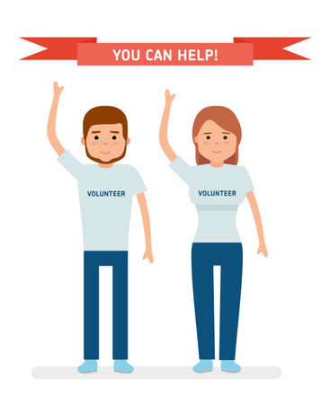 A young volunteers. The young man and the girl raised her arms and smiling.